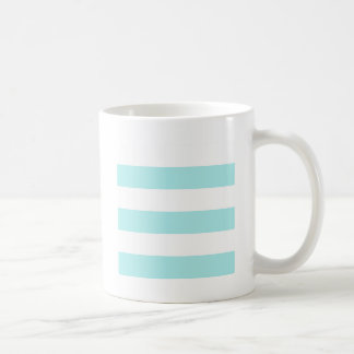 Wide Stripes - White and Pale Blue Mugs