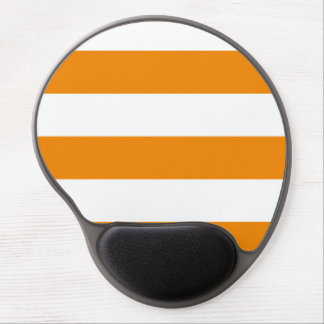 Wide Stripes - White and Tangerine Gel Mouse Pad