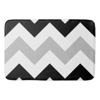 Wide Zigzag Pattern Black, Grey & White Bath Mats
