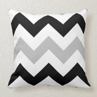 Wide Zigzag Pattern Grey Black & White Cushion