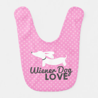 Wiener Dog Love Pink Polka Dog Baby Bib