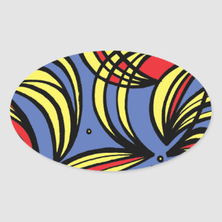 Wiesman Abstract Expression Yellow Red Blue Oval Sticker