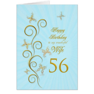 Wife 56th Birthday with golden butterflies Card