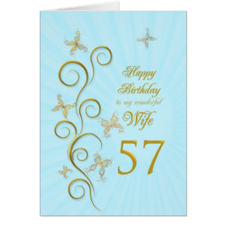 Wife 57th Birthday with golden butterflies Card