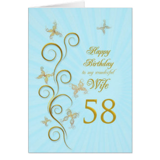 Wife 58th Birthday with golden butterflies Card