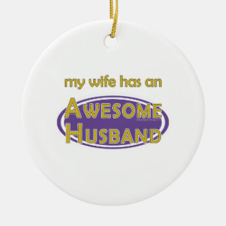 Wife Awesome Husband Purple Gold Ornament