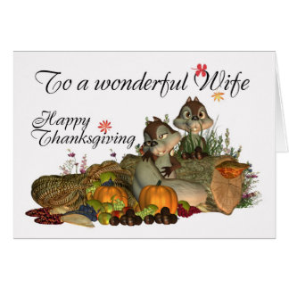 Wife, Cute Thanksgiving Card With Cornucopia, Squi