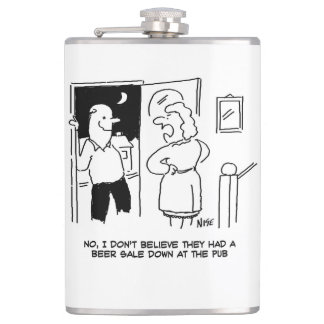 """Wife Doesn't Believe the Pub had a """"Beer Sale"""" Hip Flask"""
