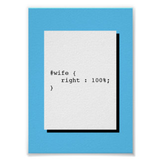 Wife is Always Right Funny CSS Poster