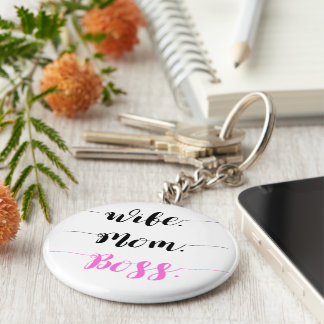 Wife mom boss calligraphy style key ring