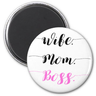 Wife mom boss calligraphy style magnet