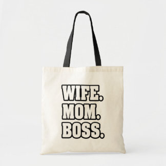 Wife Mom Boss funny tote bag
