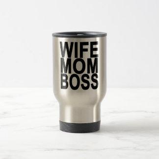 Wife Mom Boss T-shirt . Travel Mug
