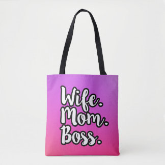 Wife Mom Boss women's tote bag