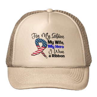 Wife - My Soldier, My Hero Patriotic Ribbon Hats