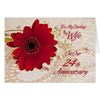 Wife on 24th wedding anniversary, a daisy flower greeting card