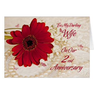 Wife on 2nd wedding anniversary, a daisy flower greeting card