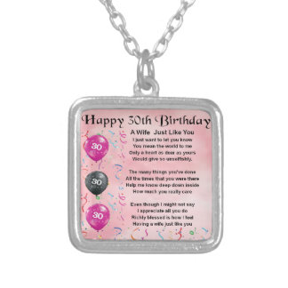 Wife Poem - 30th Birthday Silver Plated Necklace
