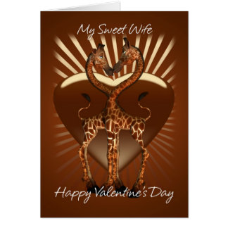 Wife Valentine's Day Card With Two Loving Giraffes