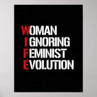 WIFE - Woman Ignoring Feminist Evolution --  white Poster