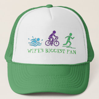 Wife's Biggest Fan Swim Bike Run Triathlete Race Trucker Hat