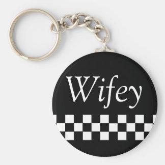 Wifey Basic Button Keychain