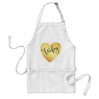Wifey Calligraphy Apron, Gold Foil Heart Modern Standard Apron