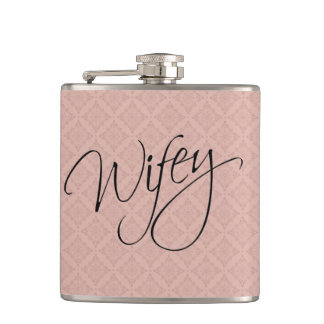 Wifey Calligraphy Hip Flask