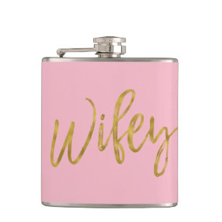 Wifey Flask with Gold Foil Script and Pink