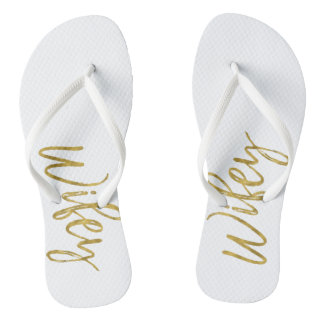 Wifey Flip Flops with Gold Foil Typography