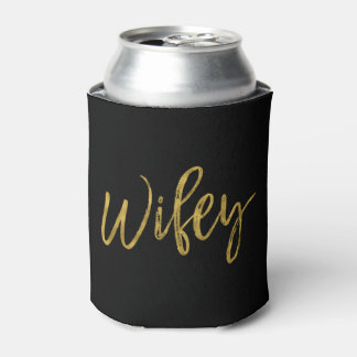Wifey Gold Foil Can Cooler