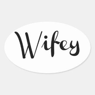 Wifey - Newlywed Funny Oval Sticker