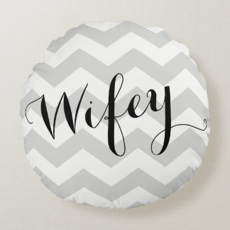 Wifey Pillow with Chevron Background