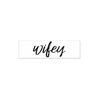 Wifey - Whimsical Black Calligraphy for the Bride Self-inking Stamp