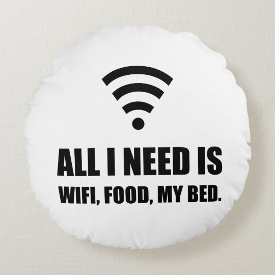 Wifi Food My Bed Round Cushion