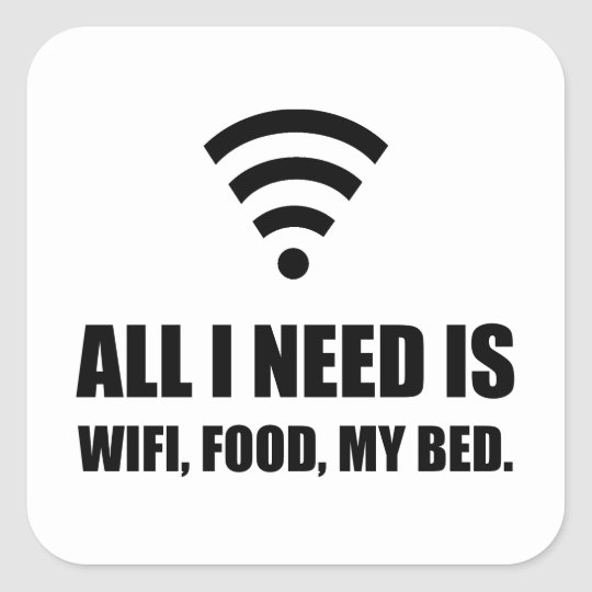 Wifi Food My Bed Square Sticker