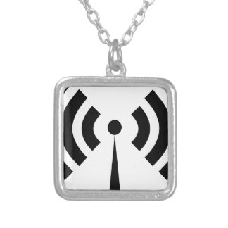Wifi Signal Silver Plated Necklace
