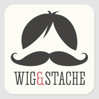 Wig and stache mustache bash birthday party square sticker