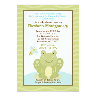 Wiggle Frog and Bug Baby Shower Invitation