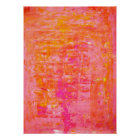 'Wiggle' Pink and Orange Abstract Art Poster Print