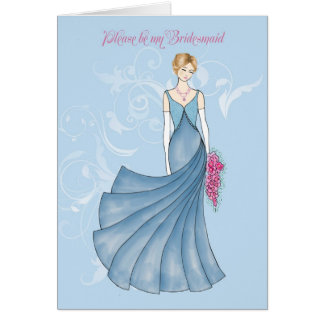 wiill you be my Bridesmaid blue Card