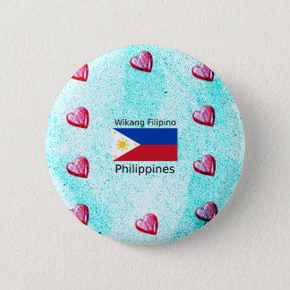 Wikang Filipino Language And Philippines Flag 6 Cm Round Badge