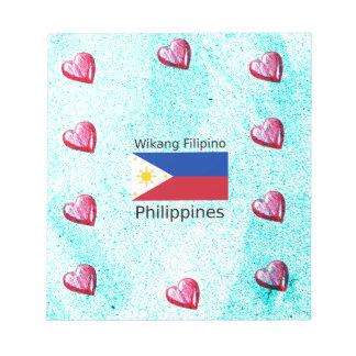 Wikang Filipino Language And Philippines Flag Notepad