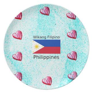 Wikang Filipino Language And Philippines Flag Plate
