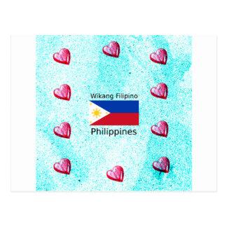 Wikang Filipino Language And Philippines Flag Postcard