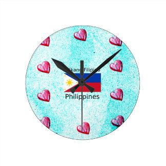Wikang Filipino Language And Philippines Flag Round Clock