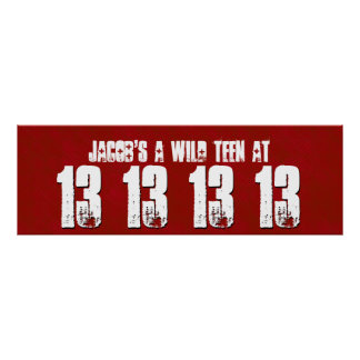 WILD 13 Year Teen Birthday Party Banner Custom V1A Poster