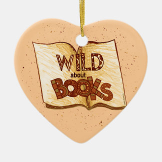 Wild About Books Reading Ceramic Heart Decoration