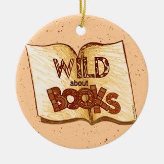 Wild About Books Round Ceramic Decoration