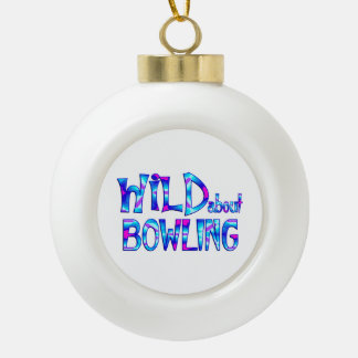 Wild About Bowling Ceramic Ball Christmas Ornament